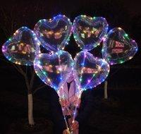 LED amor coração estrela forma balão luminoso bobo balões com luzes de 3m cordas 70cm pólo noite balão luz para decorações de festa de casamento kirlp