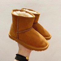 2021 Новая Зимняя Классика Классический Короткая Кожа Австралия Снежные Сапоги Открытый Детская Обувь Мальчик Девушка Молодежь Дети Спорт Бегущий кроссовки Размер 26-35
