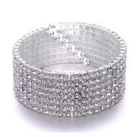 Superbe 7ages CZ strass Cristal Silver Bracelet Bracelet Vintage Mariage Bridal Bridal Bra SQCTXL Homes2007