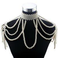Pendentif Colliers Florosy Long Perle Chaîne Chunky Collier de perles simulée Simulée Bijoux corporels pour femmes Costume Costume Déclaration
