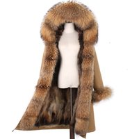Lavelache X-Uzun Parka Kış Ceket Kadınlar Gerçek Kürk Büyük Doğal Rakun Kürk Hood Streetwear Ayrılabilir Giyim Yeni 201207
