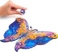 Деревянная головоломка Jigsaw, лучший подарок для взрослых и детей, уникальные формы Jigsaw Piece Intergalaxy Butterfly, 14,8 CMX 21см, 107 штурмов