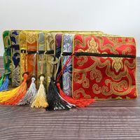 Bolsas de joyería, bolsas flor rica pequeña regalo tassel seda brocado cremallera bolsa monedero bolso brazalete almacenamiento empaquetado 50pcs