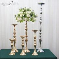 Dekorative Blumen Kränze Künstliche Blumenständer Kerzenhalter Metall Kerzenstein-Vase-Tisch-Herzstück Straße Blei-Hochzeitsdekor Gold Whi
