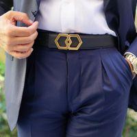 Hexagon de lujo de Lichi de cuero genuino presente de los hombres elegantes Bling Hebillas de acero inoxidable hexagonal corbata a juego