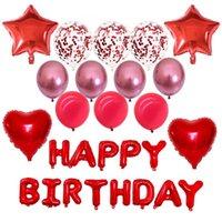 Balão Vermelho Cinco Ótimo coração coração feliz aniversário letra pérola látex macaron cromo chapeado metal lantejoulas vermelho ballons party globo