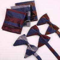 Boyun Kravatlar erkek Büyük Papyon Mendil Erkekler Için Set Çizgili Polyester Papyon Cep Kare Hediye Smokin