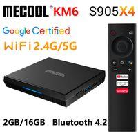 MeCool KM6 Google شهادة ATV Android 10.0 TV Box Amlogic S905x4 Android TV 10 Set Top Box Wifi 2.4 جرام 5G Bluetoot 2GB 16GB Media Player