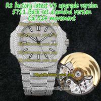 Eternity R8F V3 ترقية النسخة Iged خارج كامل الماس البطانة حالة حزام 5711 Diamonds-Dial Cal.324 S C التلقائي 5719 رجل ساعة 5713 الرياضة
