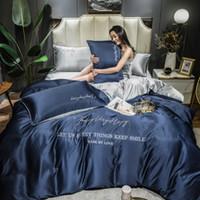 Quatro peças de seda conjuntos de cama Edredons Rei Queen Size Luxo capa do edredon fronha capa de edredão Marca cama Jogo de alta qualidade transporte rápido