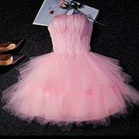 Customized Plus Size Design Qualität trägerlos Rosa Party Kleid Illusion Prinzessin Rotes Kleid Schnürung Zurück Zurück Verschluss