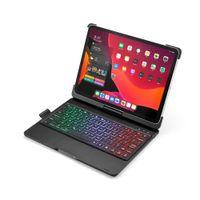 Kablosuz 7 Renkli Aydınlatmalı Bluetooth Klavye Touchpad Ile 360 Derece Döndür Oto Uyku / Ipad Pro 11 2018 2020 Için Wake Akıllı Klavye Kılıfı
