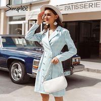 Simplee Elegante Long Sleevele Weibliche Knomer Kleid Office Damen Blue Blazer Kleid Herbst Winter High Street Chic Party1