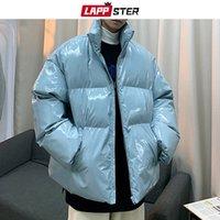 Leppster Uomo Streetwear Hip Hop Blue Winter Bubble Giacche Cappotto Mens Harajuku Caldo Parka Maschile Maschio Coreano Fashions Pulffer Giacca 201123
