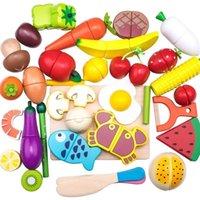 Corte de madera Cocina Juego de alimentos Conjuntos de alimentos Madera magnética Verduras Frutas Pretend Play Kits Kits Juguete durante 2 años LJ201211