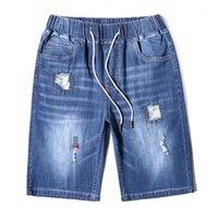 Мужские джинсы Большой размер синие брюки упругая талия большие 10xL летние джинсовые хлопковые шорты растягиваются повседневная мужская одежда мужчина