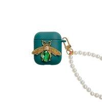 لطيف جميل الحيوان النحل الماس كريستال أنيق tpu غطاء القضية ل airpods 1 2 برو مع حزام اللؤلؤ