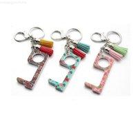 Taste mit tragbaren Werkzeugen No-Touch-Quaste Aufzug Schlüsselanhänger Kontaktloser EDC-Türöffner-Tool-Schlüsselanhänger-Party-Favorit-Mischfarben Epack