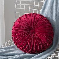 Yeni Ev Tekstili Kadife Pileli Yuvarlak Katı Renk Yastık Pouf Atmak Ev Yumuşak Yastık Moda Sıcak Yastık PPD3304