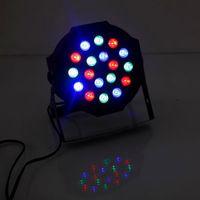 Новый дизайн 24W 18-RGB LED движущийся головной свет Автомобильный / голосовой контроль DMX512 Высоко яркости огни Мини-сценическая лампа (AC 100-240V) Black * 2