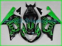 Custom Green Flames Black AE053 Kit de Feira para Suzuki GSXR 600 750 K1 2001 2002 2003 GSXR600 GSXR750 01 02 03 Jogo de carestes da motocicleta