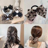 Frauen Netting Wave Point Haarnadel-Kopfbrust Dame Mädchen Schwarz Beige Bogen Mode Frühling Clip Vielseitig Haar-Zubehör 2 1QY J2