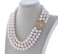 """Z10015 3ROW 18 """"11 мм белый круглый пресноводный жемчужный ожерелье браслет CZ1"""