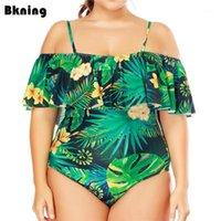 Traje de baño de las mujeres Lámina de la hoja de la hoja de una pieza Traje de baño Mujer Monokini Monokini femenino grande traje de baño 2021 Body Body Bather 3XL1