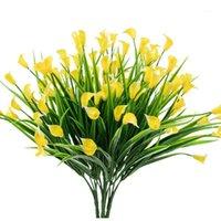 4 pezzi fiori artificiali all'aperto giallo giallo giglio di giglio finghia piante finte arbusti decorazioni in plastica verde