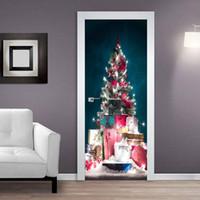 Рождественские украшения 3d Дверная наклейка для гостиной спальня ПВХ водонепроницаемые обои DIY реконструкция клейкие двери рождественские украшения