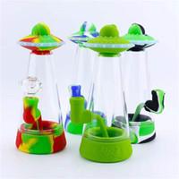 Creative Silicone Bong Type d'UFO Type d'eau en verre 8.9inches Hauteur Tuyau de conception colorée avec bol en verre