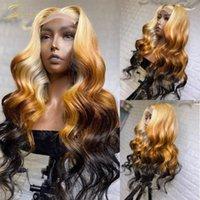 HD transparent ombre 613 horizon blonde dentelle perruque frontale prélignée pour les perruques de cheveux humains de corps pour femmes noires densité complète