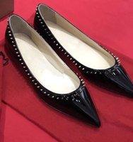 Luxus Frauen spitz auf Ballerinas rotes unteres flaches Slip-on Ballett schwarzes Leder sexy Damen Walking Sapato Feminino mit Box, EU35-43