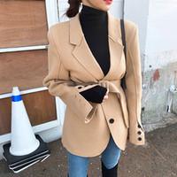 2020 새로운 디자인 여성의 턴 다운 칼라 롱 슬리브 슈칭 벨트 중간 긴 모직 블레이저 슈트 OL 코트 카마 코스 솔리드 컬러