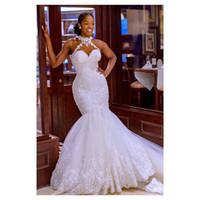 2021 Vintage de encaje con cuentas vestidos de novia pura cuello sirena encaje vestidos nupciales atractivos vestidos de novia baratos