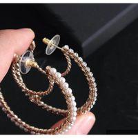 Marca di moda Avere francobolli Moon Pearl Hoop Orecchini Aretes per Lady Donne Party Wedding Marry Jewelry Jewelry Amanti di fidanzamento regalo con scatola c7nis