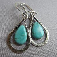 Boucles d'oreilles rétro Turquoise Teardrop Naturel Stone Naturel Nouveau manuel Originalité Bijoux Dangle Femmes Pendentifs Accessoires 3Cy K2