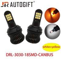Acil Durum Işıkları 2 adet Çift Renk 1156 BA15S 3030 18SMD LED Ampuller Torna Beyaz Amber Hatası Ücretsiz Canbus DRL1