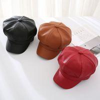 Moda Pintor Hat PU Béisbol Picos Pasados Picos Snapbacks Mujeres Octagonal Color Sólido Boina Headwear Retro Invierno Otoño Outdoor 13my L2