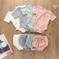 Neugeborenes Baby Girl Strampler Baumwolle Schusshülse Strampler Gestreifte Feste Farbe Weiche Hautfreundlich Baby Säuglingsjunge Kleidung Set HA1701