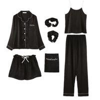 Set da 7 pezzi / set Katoon Quaresima Pigiama Pigiama Sexy Camicia lunga Camicia da donna Stitch Lingerie 2020 Top Fashion Nightwear