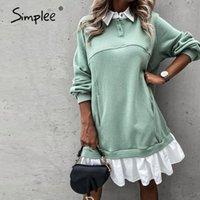 Повседневные платья Simple r ruchress Dress с длинным рукавом свободные прямые осенние улица отворота моды поддельные две части комфортно