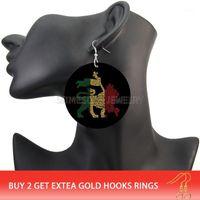 Люстра свисания somesoor обе стороны напечатаны афро львев король деревянные серьги африканский символ этнической экологического подвеска для женщин подарки