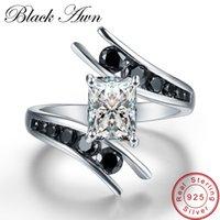 [Noir Awn] Bijoux fins 3.9 grammes 100% véritable 925 Sterling Sterling Sterling Rhin Noir Pierre Bagues de fiançailles pour femmes Bague C299