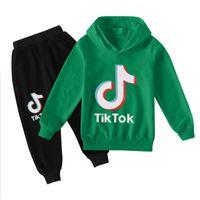 TIK TOK Set Büyük Boy Kız Eşofman Giysi Sonbahar Kış Tiktok Çocuk Kapüşonlu Kazak + Baskı Pantolon 2 Adet Kıyafet Çocuk Spor Suit 12 Yıl