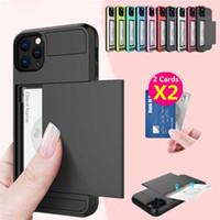 Cas de portefeuille pour iPhone 12 11 PRO XS XR Pro Max 7 8 Plus TPU + PC Slide Cartes Armor Shell Coque pour Samsung Galaxy Téléphone