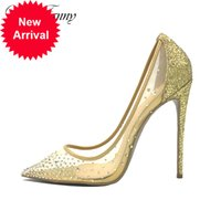Doris fanny elegante strass sexy rote boden high heels 12 cm große größe goldkristalle party hochzeitsschuhe frauen pumpen
