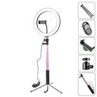 10 Zoll 26 cm Dimmable LED Studio Kamera Ring Licht Photo Telefon Video Licht Lampe mit Stativen Selfie Stick Ring Licht Telefonhalter