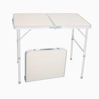 가정용 휴대용 알루미늄 테이블 90 x 60 x 70cm 야외 접이식 테이블 의자 캠핑 피크닉 파티 바베큐 선박 미국에서