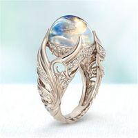 S925 Sterling Silver Blanco Moonstone Bizuteria Gemstone Anillo para las mujeres Anillos de Fine Silver 925 Joyería Hip-Hop Ring